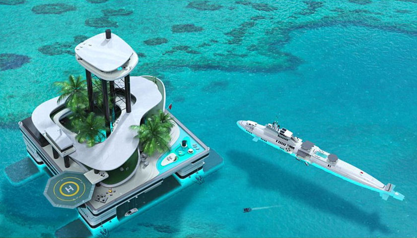 Migaloo Private Submersible Yacht and Floating Island