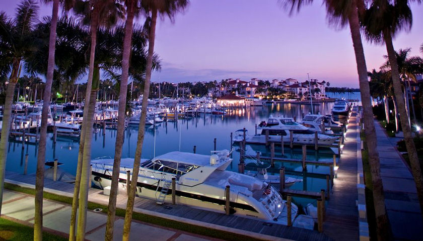 Fisher Island marina at sunset