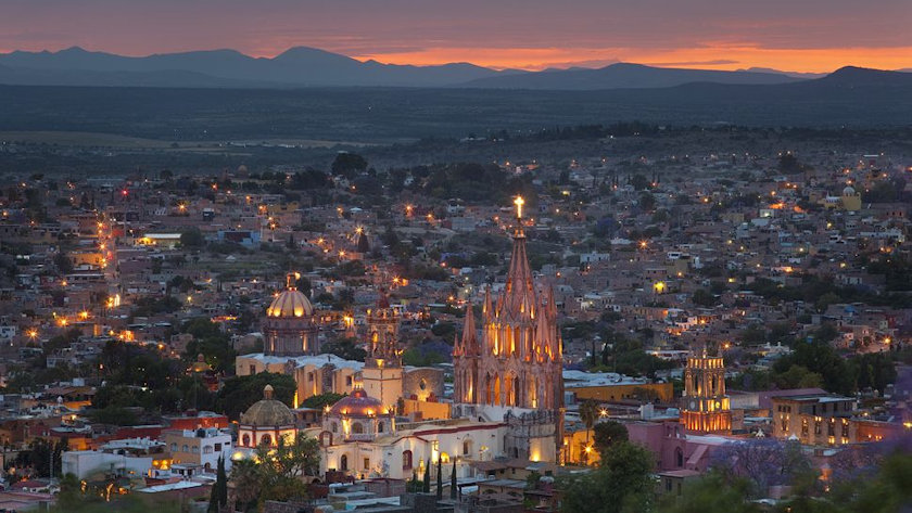 San Miguel de Allende aerial view night