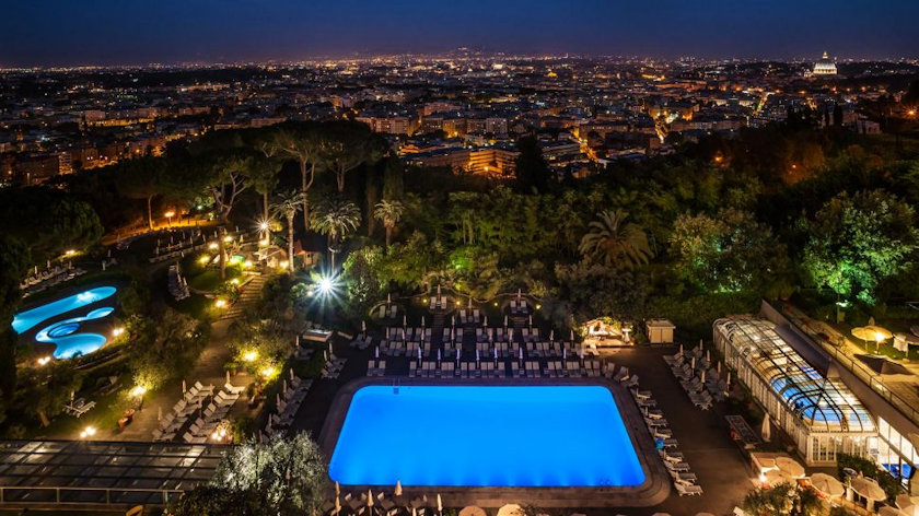 Rome Cavalieri pool night